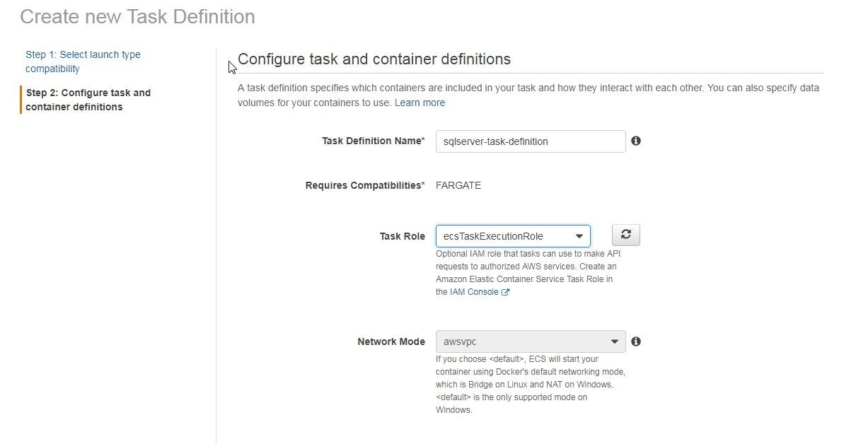 Figure 3 shows step two: configure task and container definitions