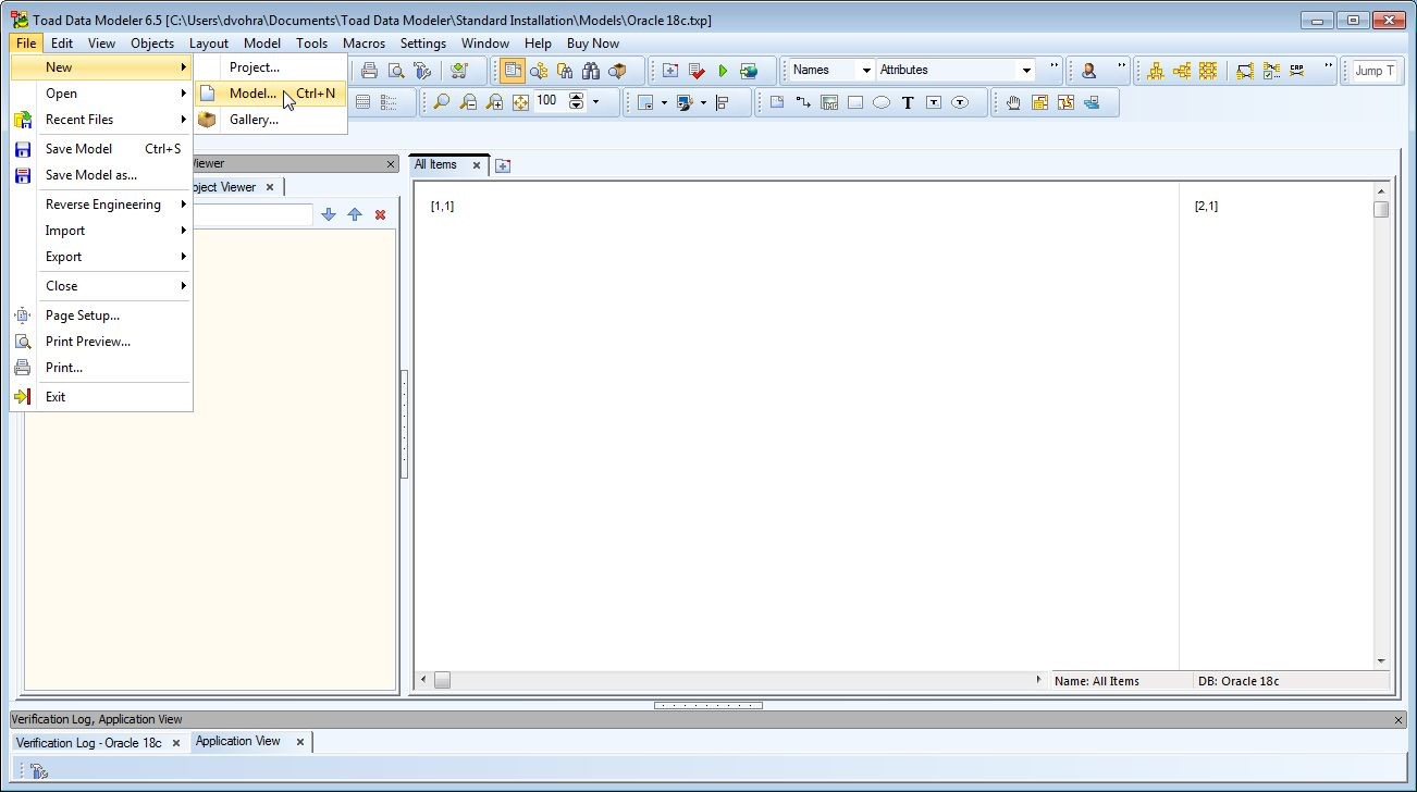 Figure 1. Creating a new model in Toad Data Modeler