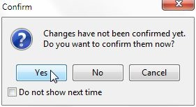 Figure 15. Clicking on the Yes button to confirm changes to the attribute