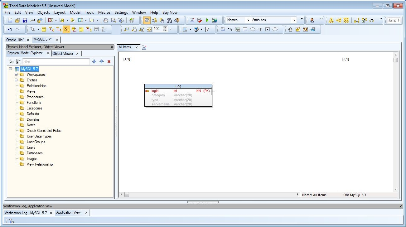 Figure 26. Position the plus-shape cursor over the Log entity and double click