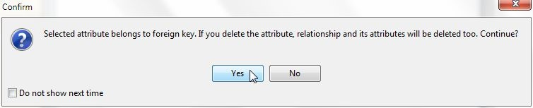 Figure 31. Confirm Dialog to delete an Attribute