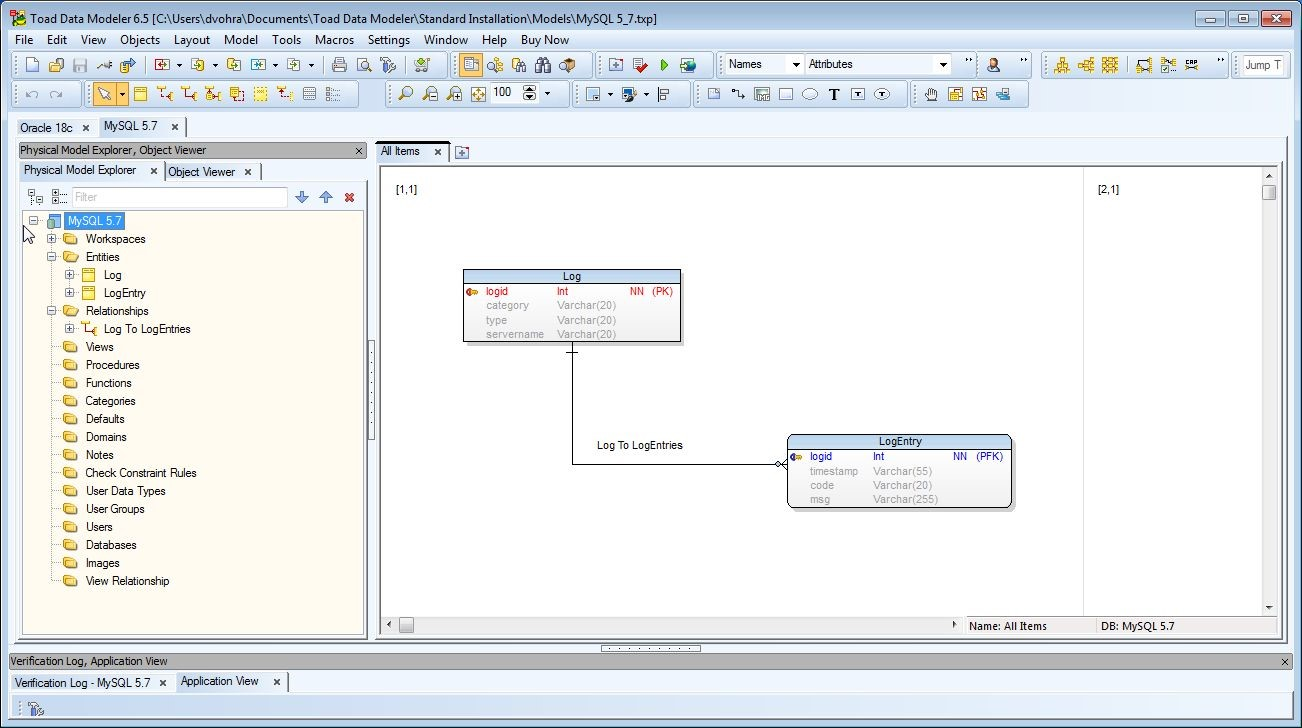 Figure 48. MySQL 5.7 Model now shows only the entities and relationships we added