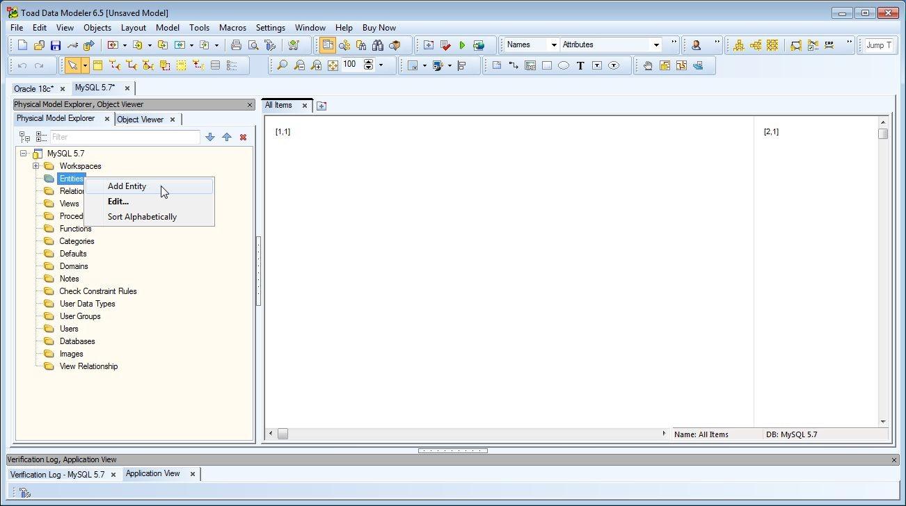 Figure 5. Selecting Add Entity