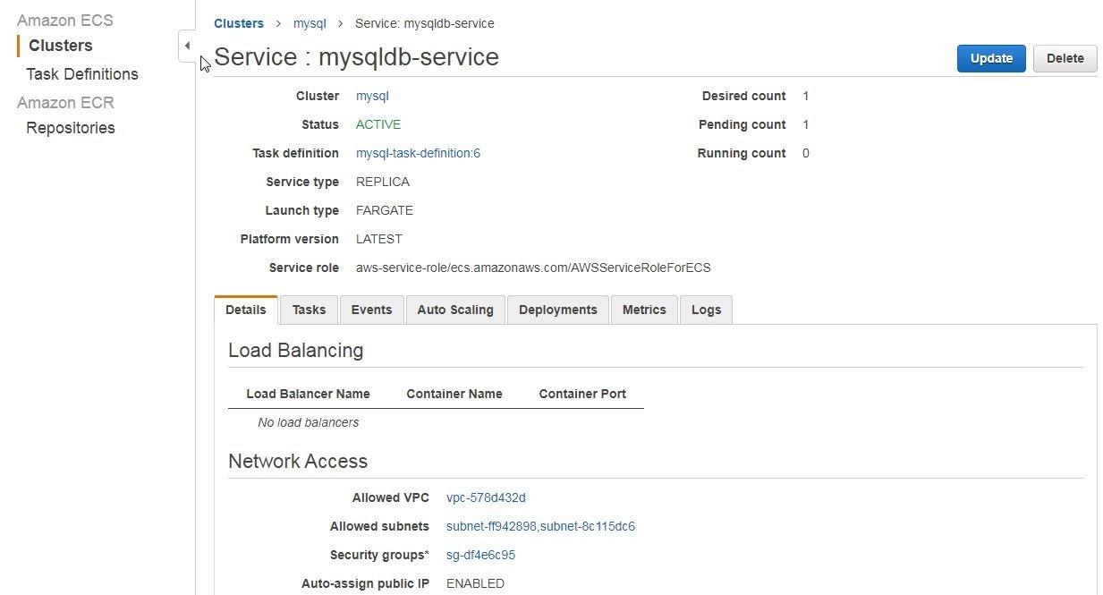 Figure 18. Service details