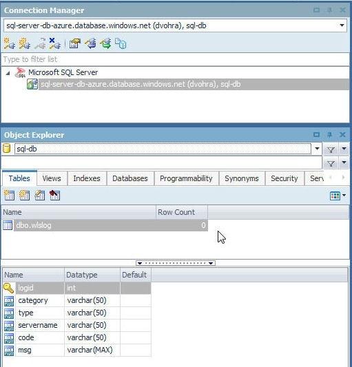 Figure 10. wlslog added in Object Explorer
