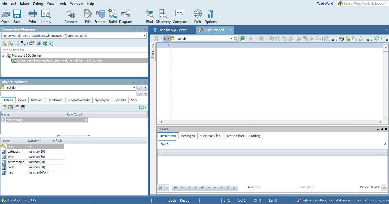 Figure 12.  The SQL Editor