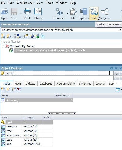 Figure 15. Selecting Build in toolbar