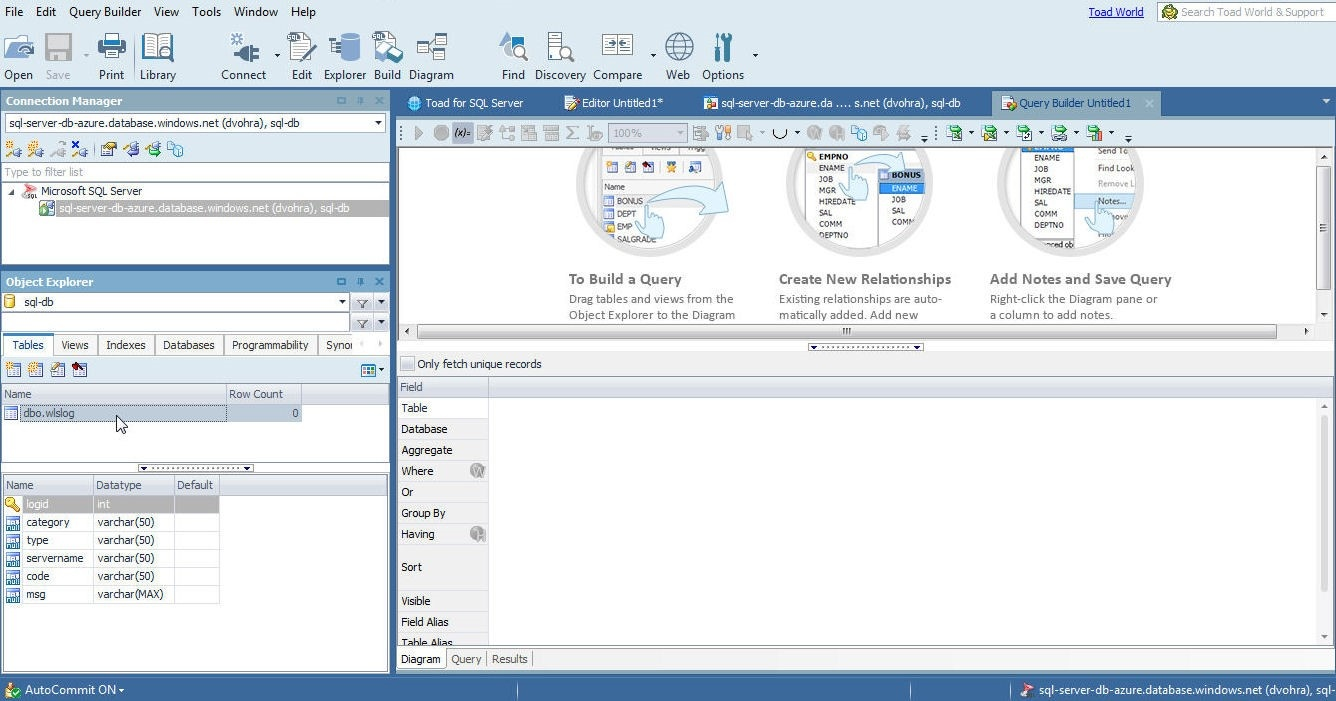 Figure 16. Selecting the table in Object Explorer