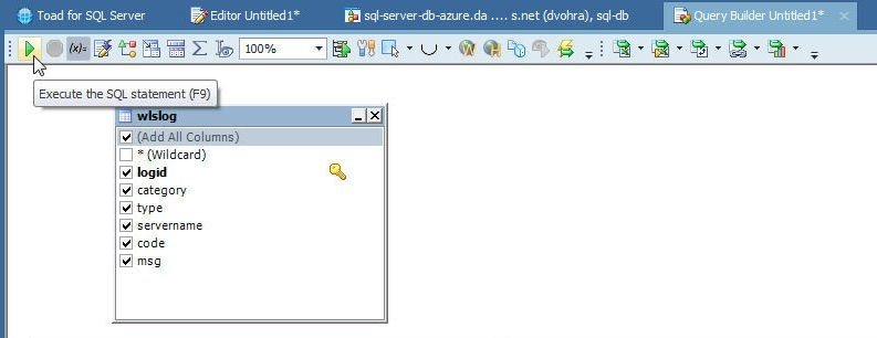 Figure 21. Clicking on Execute the SQL statement