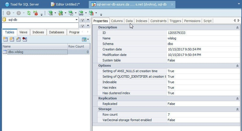 Figure 24. Database Explorer with dbo.wlslog Table Selected