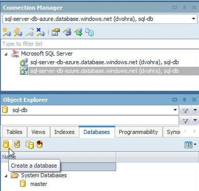 Figure 32. Clicking on Create a database