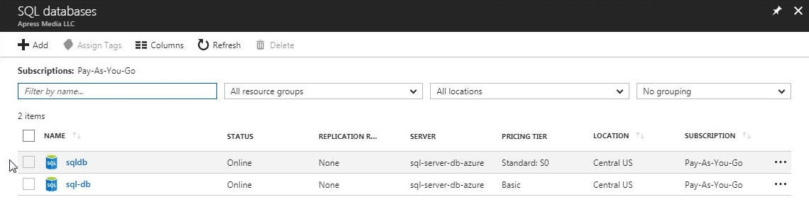 Figure 37. The new database is listed in the Azure SQL database service