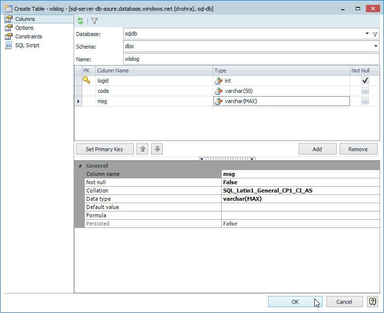 Figure 40. Creating the wlslog table in the sqldb database