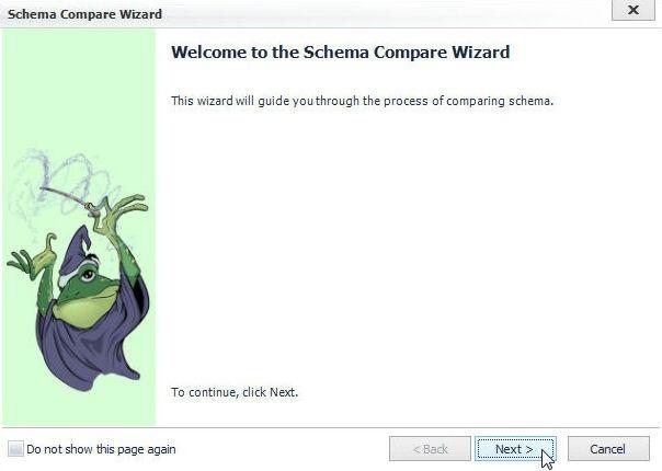 Figure 43. Schema Compare Wizard welcome screen
