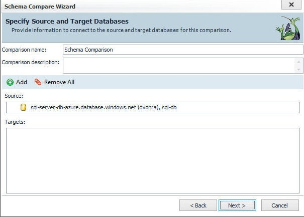 Figure 47. The database sql-db is selected as Source