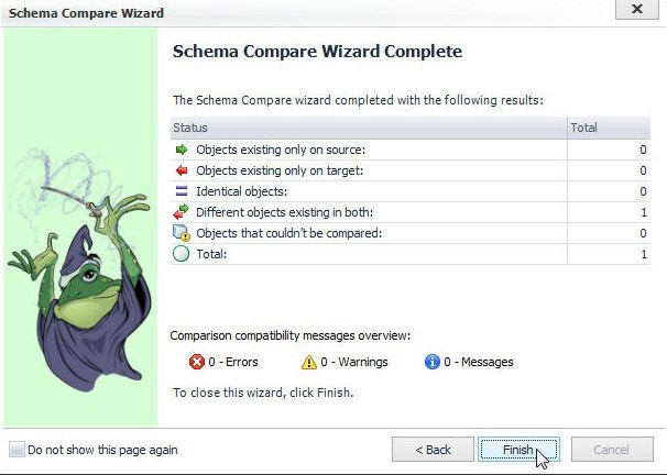 Figure 55. Notification that Schema Compare Wizard is Complete. Click on Finish