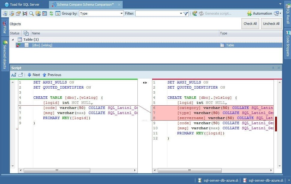 Figure 56. Schema Compare Objects and DDL Scripts