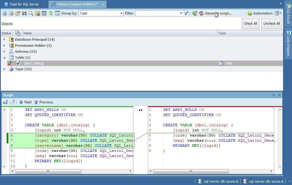 Figure 63. Clicking on Generate script…