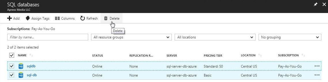 Figure 70. Deleting database instances in Azure SQL Database