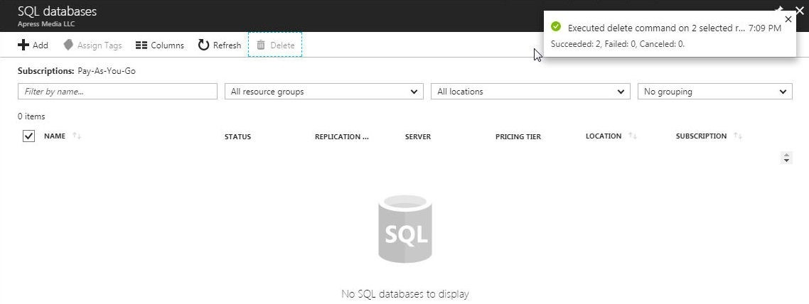 Figure 72. Azure SQL Databases deleted