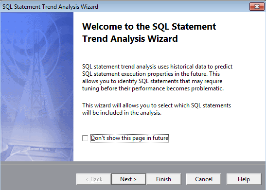 Spotlight on Oracle feature helps you Identify Degrading SQL with the SQL Statement Trend Analysis Wizard.