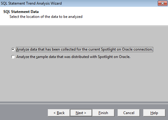 "Screen shot showing to select ""Analyze data collected for the existing Spotlight on Oracle connection."""