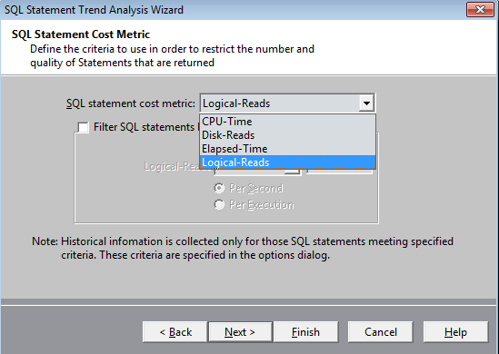 Screen shot of Spotlight on Oracle to further restrict the number of SQL statements.