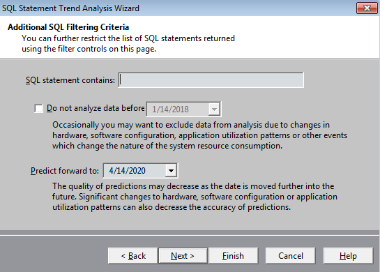 Screen shot of Spotlight on Oracle to define a date for your prediction.