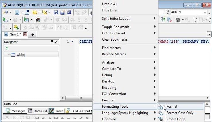 Figure 1. Formatting Tools>Format.