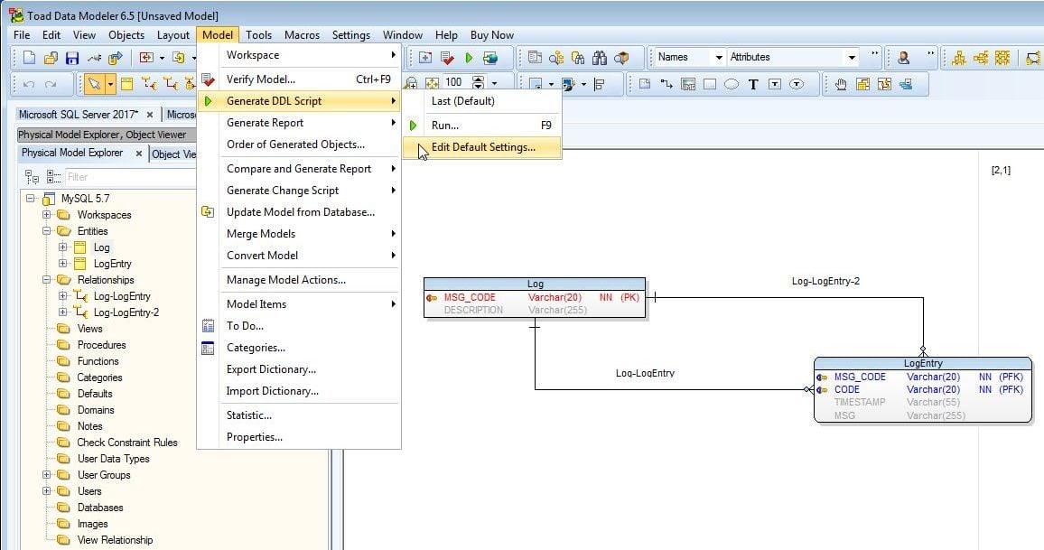 Figure 16. Model-Generate DDL Script-Edit Default Settings…