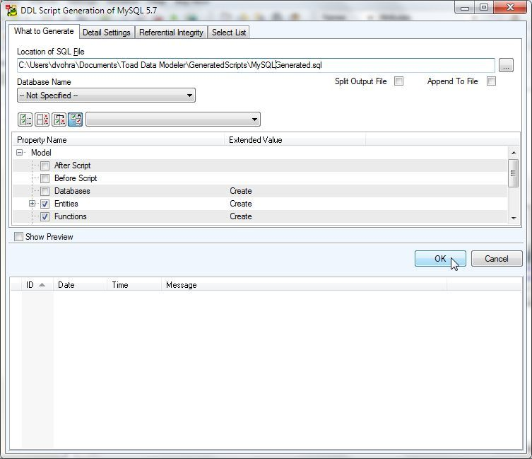 Figure 18. Modifying Default Generated File Name