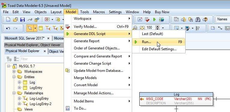 Figure 19. Model-Generate DDL Script-Run…
