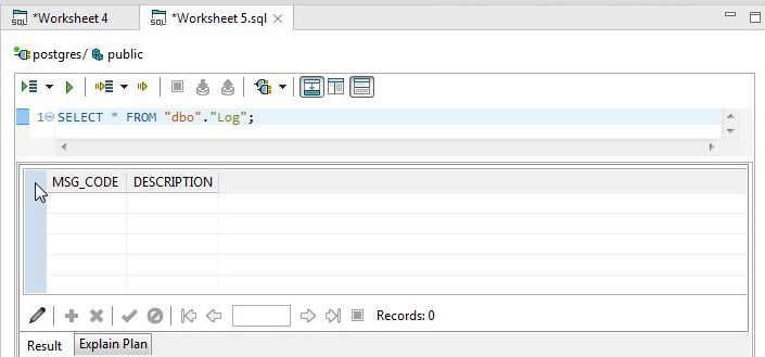 Figure 24. Using SELECT Statement to list Columns for Log Table