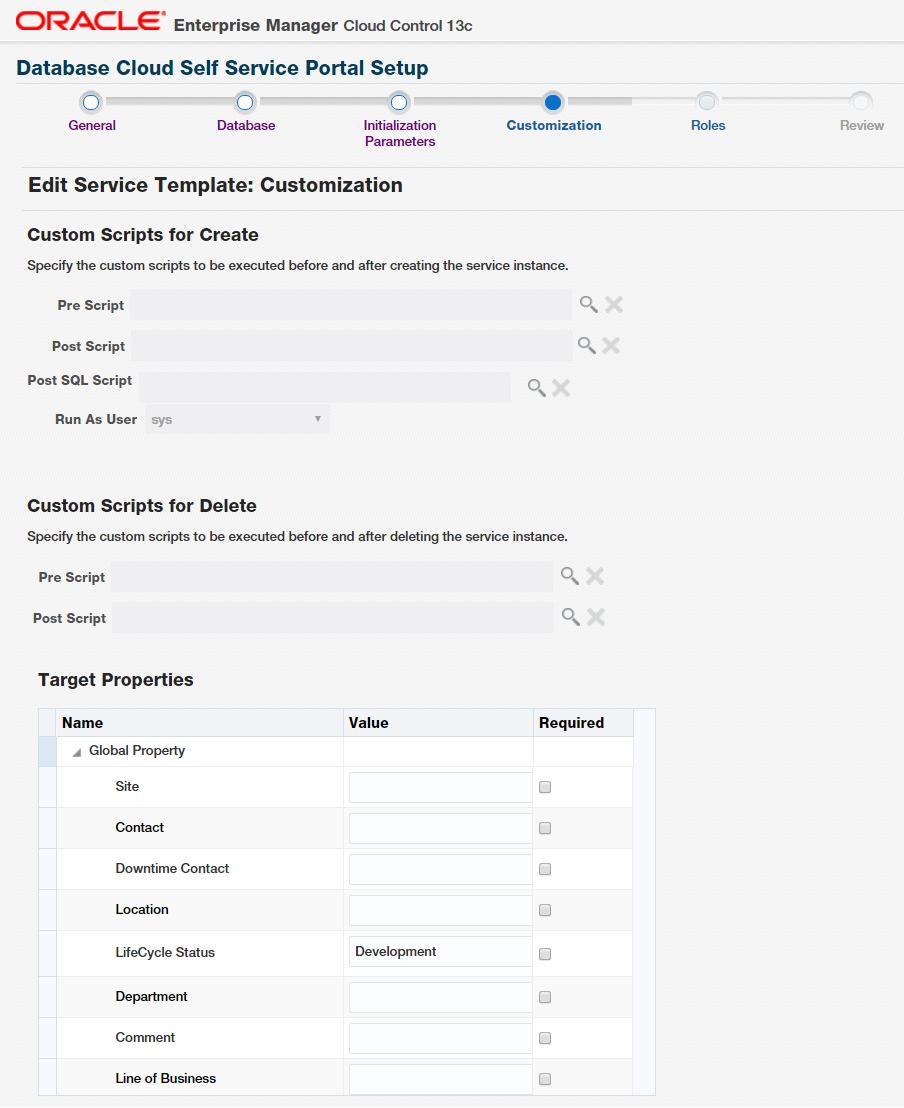 Figure 26. Customization for Service Template