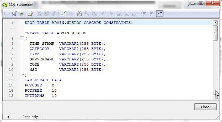 Figure 27. SQL Statement