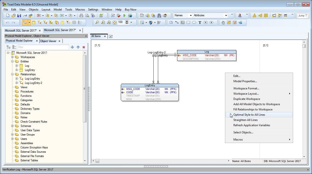 Figure 32. SQL Server 2017 Reverse Engineered Model