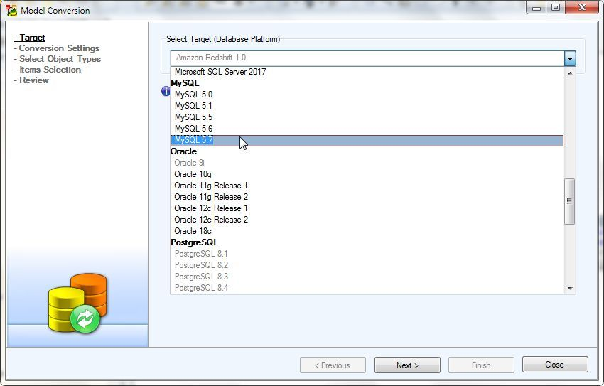 Figure 7. Selecting Model to Convert to as MySQL 5.7