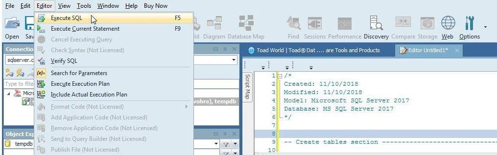 Figure 9. EditorExecute SQL