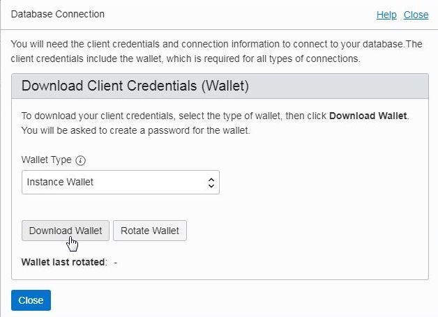 Figure 13. Downloading Client Credentials Wallet.