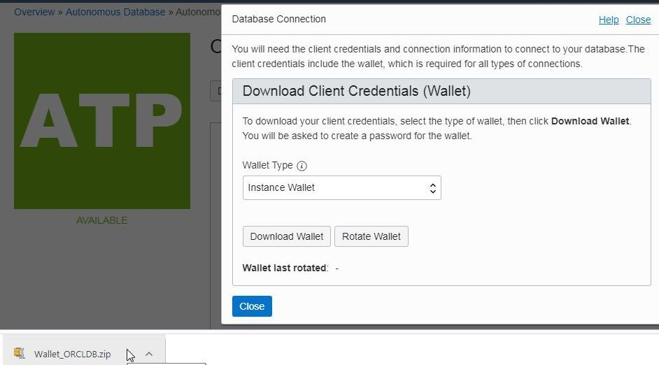 Figure 15. Client credentials zip file or wallet