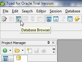 Figure 22. Database Browser in the toolbar.
