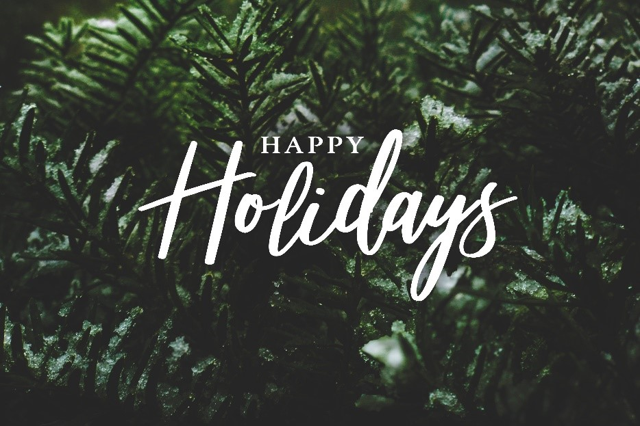 Cursive writing Happy Holidays over a fir tree background. For holiday reflection, an index of DB2 Toad World posts.