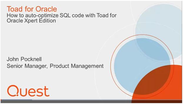 How to auto-optimize SQL code with Toad for Oracle Xpert Edition, watch the video.