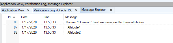 Screen shot showing Message Explorer and attributes.