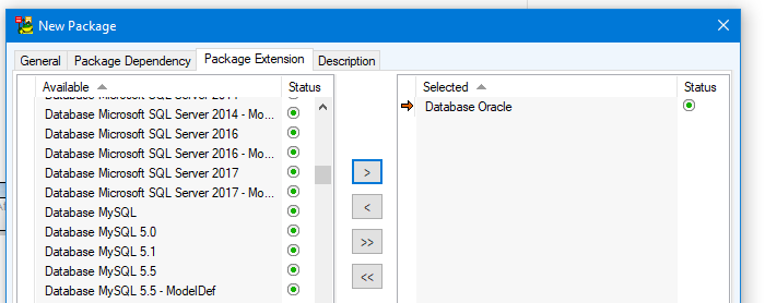Screen shot showing how to select the right package extension.