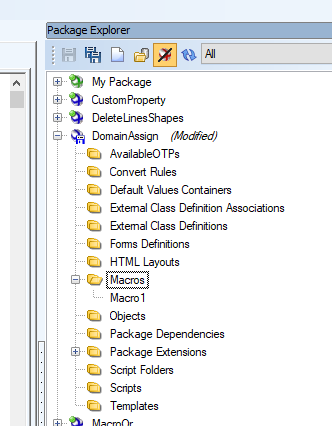 Screen shot showing how to go to Package Explorer and Domain Assign and add Macro.