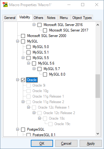 Screen shot showing Macro Properties 'Macro1' Visibility tab, Oracle.