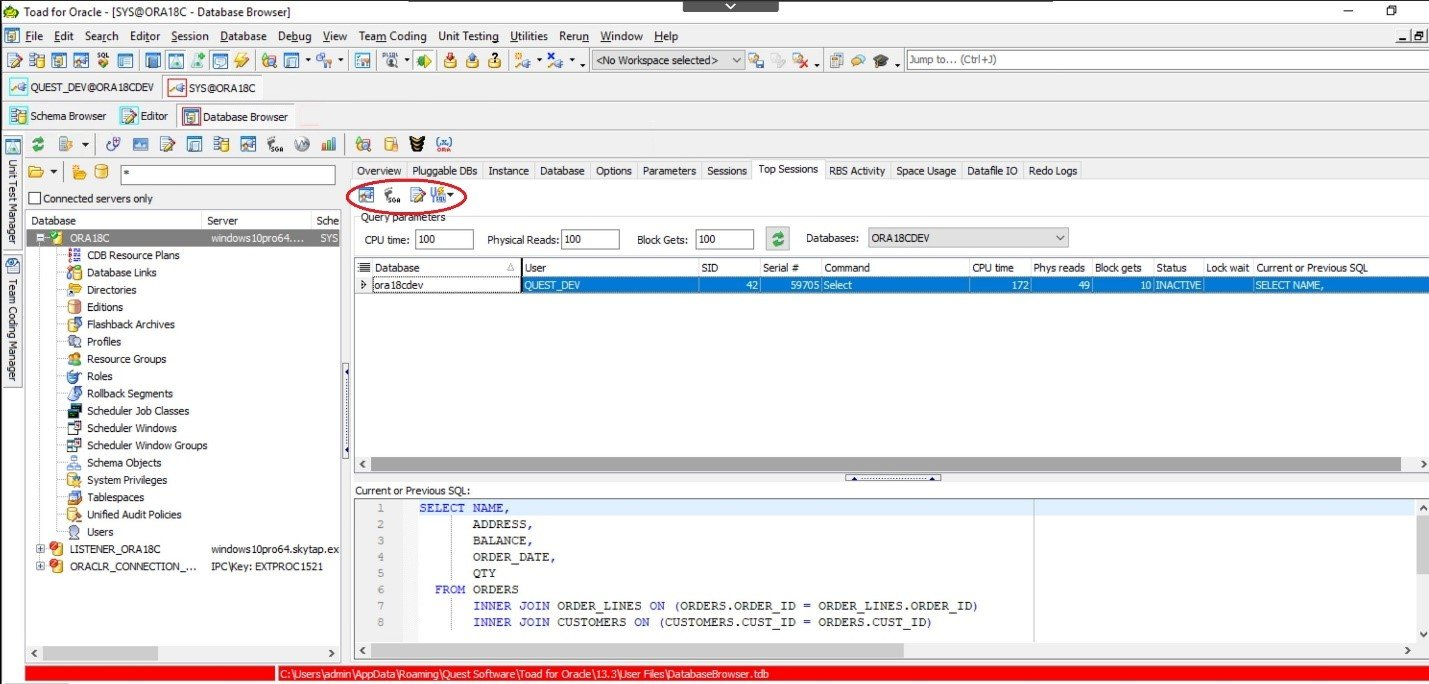Toad for Oracle. Database Browser. Top Sessions tab allows you to view the sessions that are using the most resources.