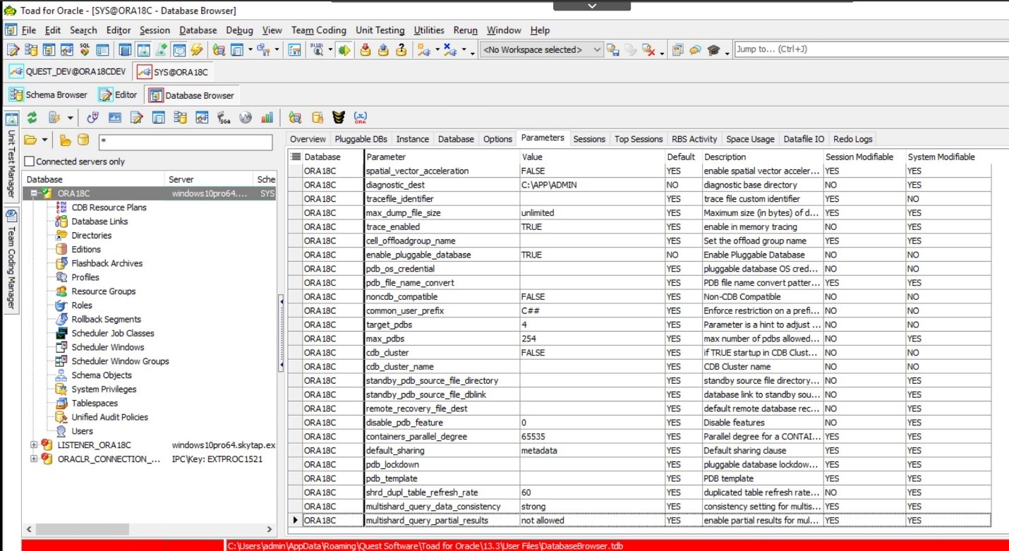 Toad for Oracle. Database Browser>Parameters.
