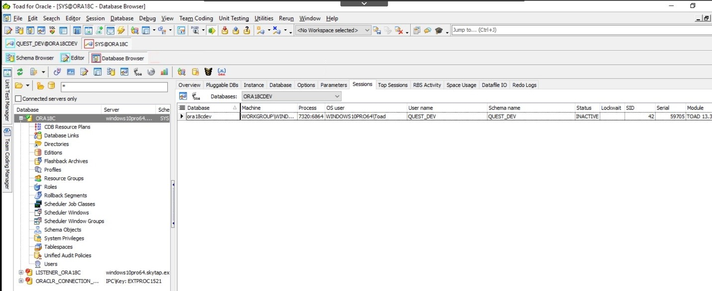 Toad for Oracle. Database Browser. Once you have chosen your database you will see this screen.